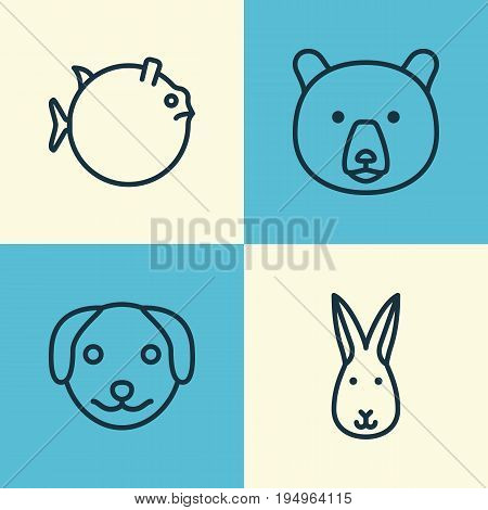 Animal Icons Set. Collection Of Bunny, Puppy, Butterflyfish And Other Elements. Also Includes Symbols Such As Hare, Animal, Grizzly.