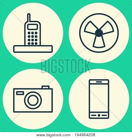 Hardware Icons Set. Collection Of Telephone, Ventilator, Call And Other Elements. Also Includes Symbols Such As Rotor, Fan, Telephone.