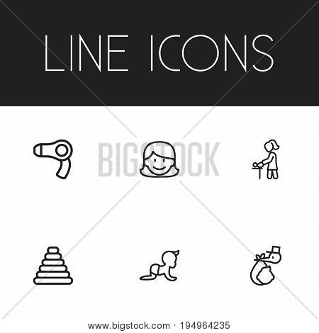 Set Of 6 Editable Family Icons. Includes Symbols Such As Brings, Tower, Mother And More. Can Be Used For Web, Mobile, UI And Infographic Design.