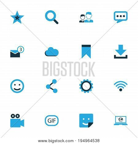 Internet Colorful Icons Set. Collection Of Cloud, Bookmark, Animation And Other Elements. Also Includes Symbols Such As Face, People, Wireless.