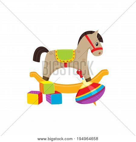 Set of vector baby toys in flat style. Rocking horse, cubic blocks , whirligig toy. Isolated illustration on a white background. Children education, growth and development concept.