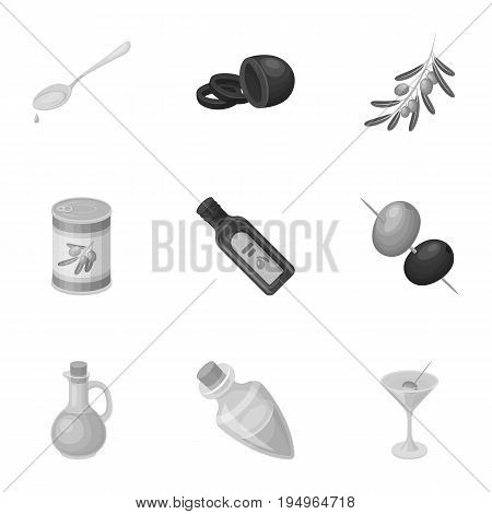 Olives, tree, branch and other products from olives.Olives set collection icons in monochrome style vector symbol stock illustration .