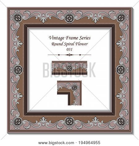 Vintage Frame Of Retro Brown Curve Round Spiral Flower