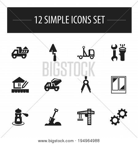 Set Of 12 Editable Building Icons. Includes Symbols Such As Oar, Trowel, Camion And More. Can Be Used For Web, Mobile, UI And Infographic Design.