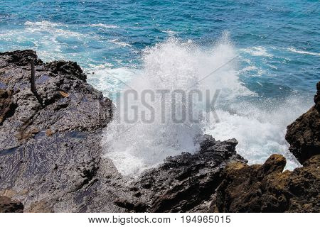 Close up image of the famous Halona Blowhole, Oahu, Hawaii