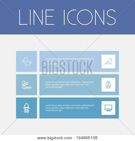 Set Of 6 Editable Kin Icons. Includes Symbols Such As Playing, Child, Monitor And More. Can Be Used For Web, Mobile, UI And Infographic Design.