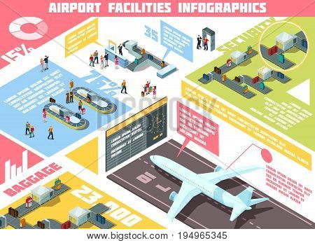 Isometric infographics with information about airport facilities including security system, baggage equipment, airplanes, tourist statistics vector illustration