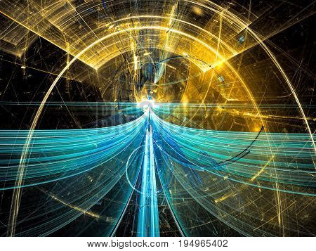 Mysterious portal - abstract computer-generated image. Tech, sci-fi or mystical fractal background. Blue and gold illustration for covers, web design, backdrops, posters.