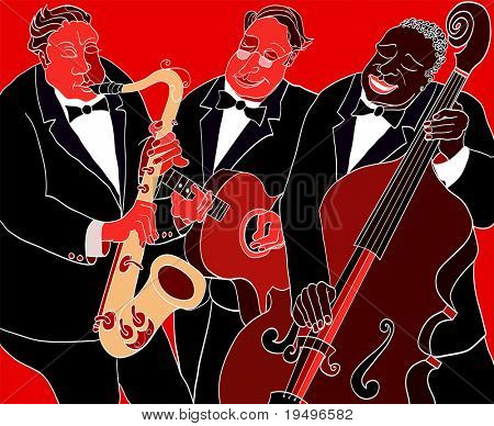 Vector illustration of a Jazz band over red background