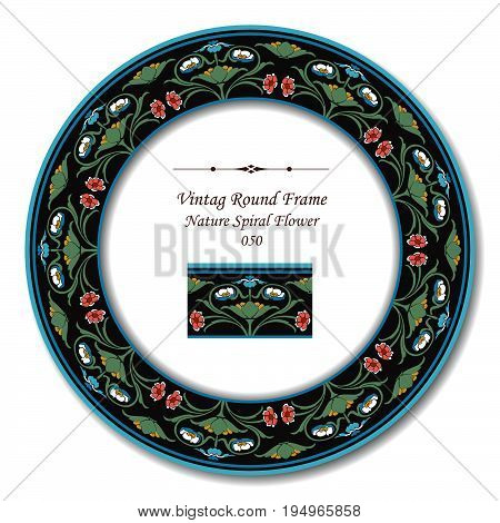 Vintage Round Retro Frame Of Retro Botanic Garden Nature Spiral Flower