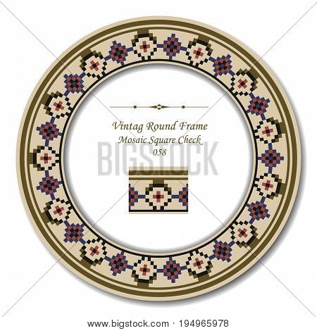 Vintage Round Retro Frame Of Retro Mosaic Square Check