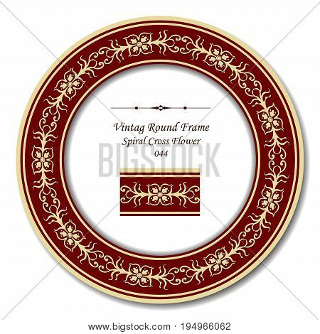 Vintage Round Retro Frame Of Retro Red Spiral Cross Flower