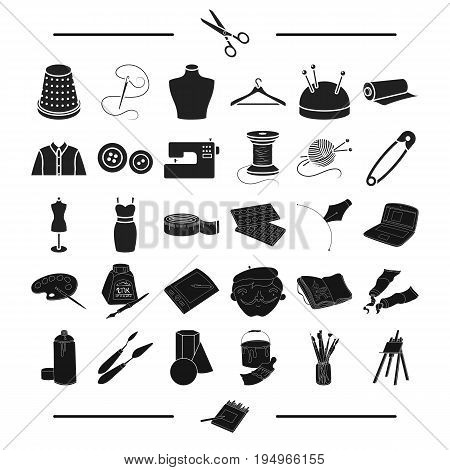 accessories, atelier, repair and other  icon in black style. tools, technique, textiles, icons in set collection