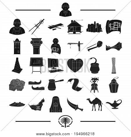history, architecture, design and other  icon in black style.sand, Turkey, Asia, icons in set collection