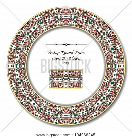 Vintage Round Retro Frame Of Retro Botanic Garden Cross Bar Flower