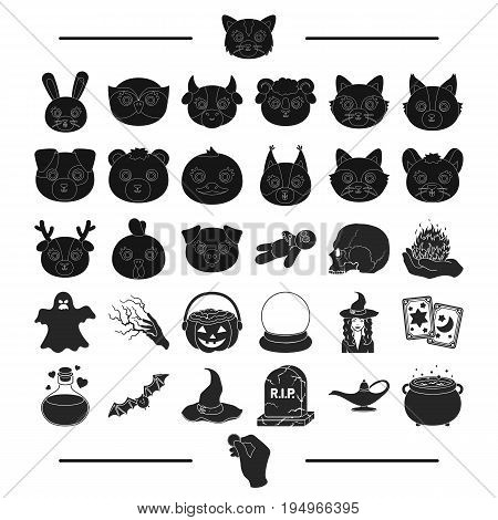 fairy tale, entertainment and other  icon in black style.beasts, nature, magic icons in set collection.