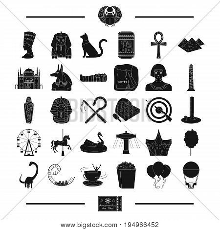 architecture, history, circus and other  icon in black style.pass, tourism, entertainment, icons in set collection