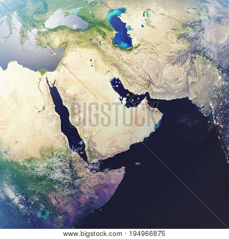 3D rendering Earth close-up view, top view. Near Space. Planet earth from the space. Elements of this image furnished by NASA