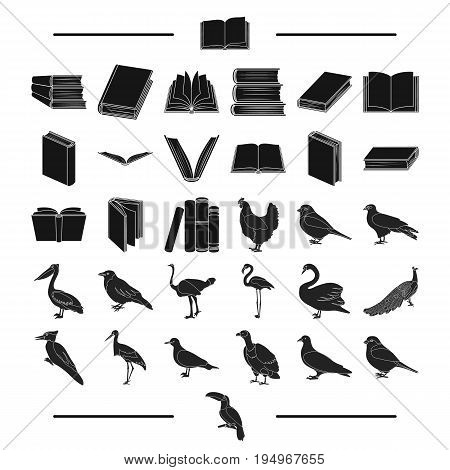 institute, school, training and other  icon in black style.house, library, shop icons in set collection.