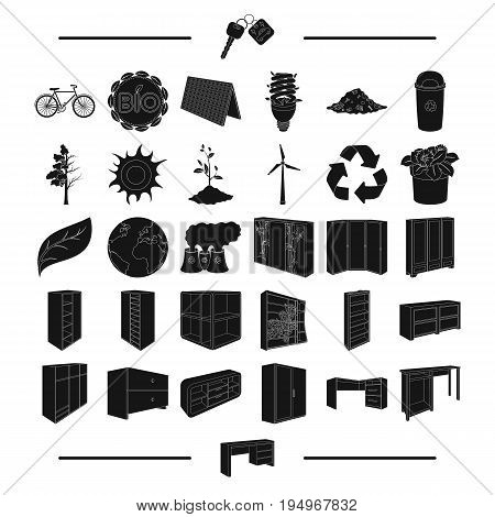 know-how, nature, eco-system and other  icon in black style.equipment, transport, ecology, icons in set collection.