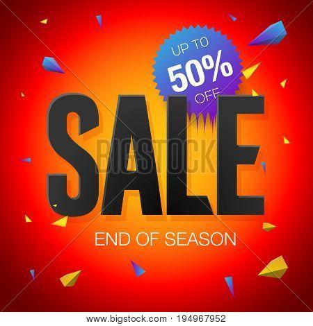 Final sale poster or flyer design. End of season sale on red background, vector illustration.