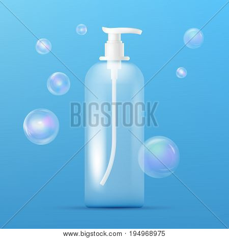 Clean plastic bottle template with dispenser for liquid soap, shampoo, shower gel, lotion, body milk and realistic transparent colorful soap bubbles. Ready for your design. Packaging collection