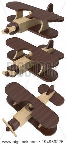 Wooden toy airplane. 3D illustration isolated on a white background.