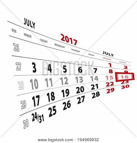 16 July Highlighted On Calendar 2017. Week Starts From Monday.