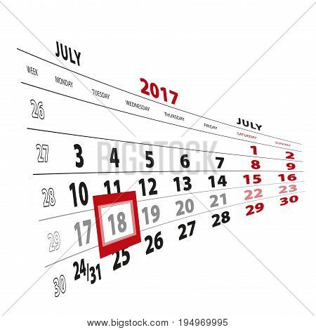 18 July Highlighted On Calendar 2017. Week Starts From Monday.