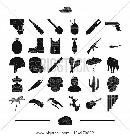 tourism, animals, nature and other  icon in black style.machinery, weapons, army, icons in set collection