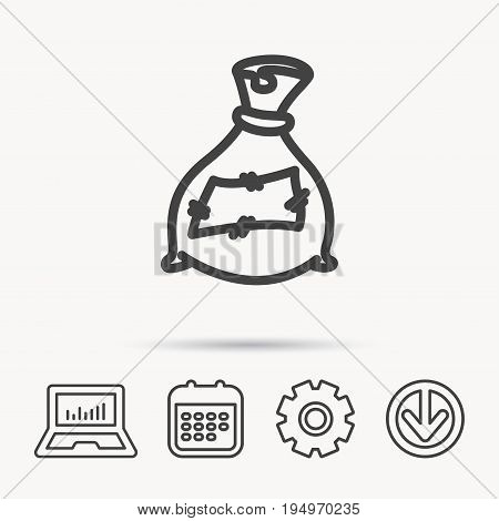 Bag with fertilizer icon. Fertilization sack sign. Farming or agriculture symbol. Notebook, Calendar and Cogwheel signs. Download arrow web icon. Vector