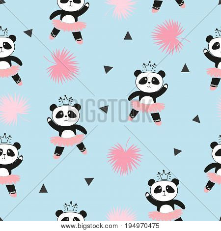 Cute panda ballerinas seamless pattern. Vector background for kids design baby print.