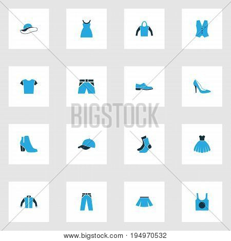 Clothes Colorful Icons Set. Collection Of Cap, Socks, T-Shirt And Other Elements. Also Includes Symbols Such As Underwear, Woman, Half-Hose.