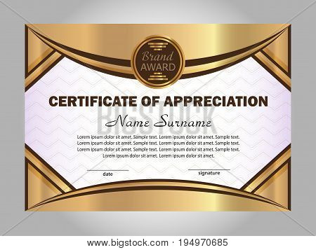 Certificate of appreciation. Gold template. Elegant background. Winning the competition. Reward. Vector illustration.