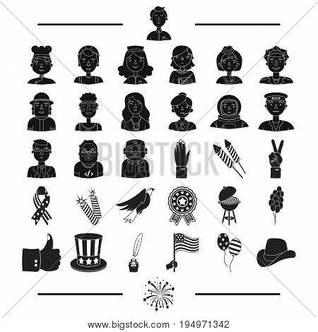 nationality, entertainment, leisure and other  icon in black style.american, salute, profession icons in set collection.