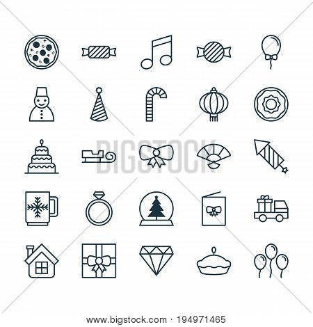 Christmas Icons Set. Collection Of Doughnut, Dessert, Flan And Other Elements. Also Includes Symbols Such As Present, Car, Candy.