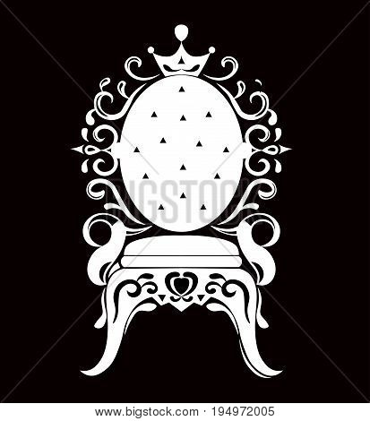 Vintage armchair black silhouette. French Luxury rich carved ornaments decorated furniture. Vector Victorian Royal Style structures