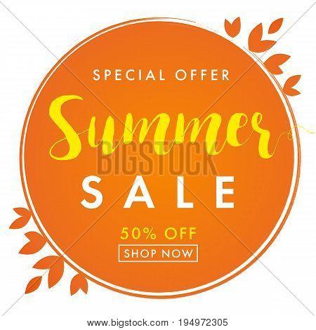 Summer sale special offer orange banner. Sale banner End of Summer vector design template discount