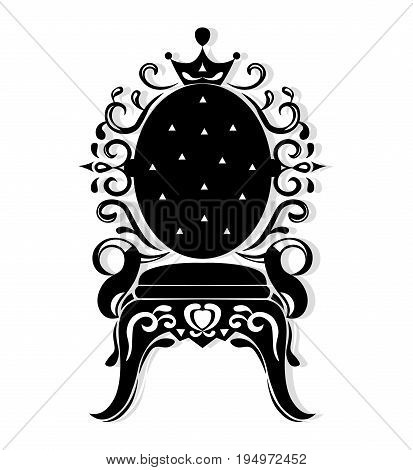 Vintage armchair black silhouette. French Luxury rich carved ornaments decorated furniture. Vector Victorian Royal Style structure