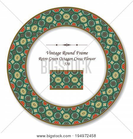 Vintage Round Retro Frame Retro Green Octagon Cross Flower