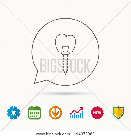 Dental implant icon. Oral prosthesis sign. Calendar, Graph chart and Cogwheel signs. Download and Shield web icons. Vector