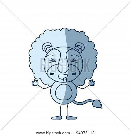 blue color shading silhouette caricature of cute lion disgust expression and sticking out tongue vector illustration