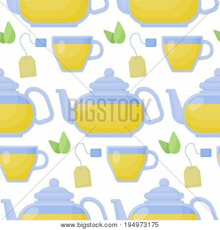 Green tea vector seamless pattern Flat design of food relaxation superfood and healthcare wallpaper on white background cute vector illustration