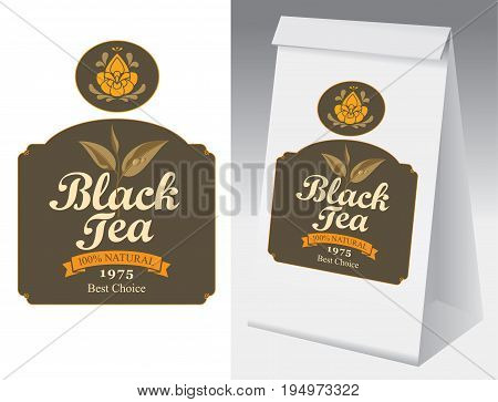 Paper packaging with label for black tea. Vector label for black tea with branch with leaves tea and paper 3d package with this label.