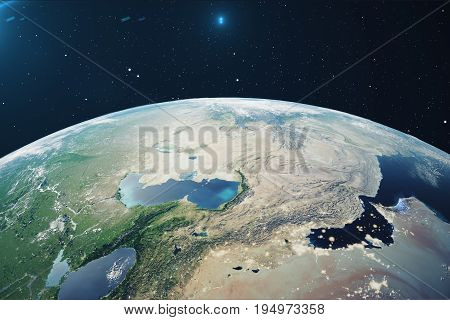 3D Rendering Planet earth from the space at night. The World Globe from Space in a star field showing the terrain and clouds Elements of this image furnished by NASA