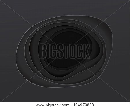 black background looks like a deep layers hole floor. abstract paper art vector illustration
