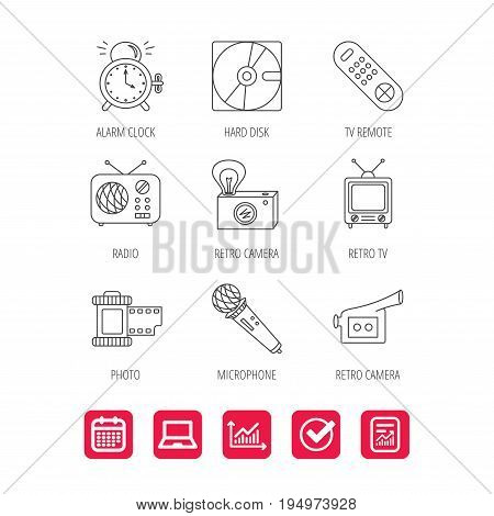 Microphone, video camera and photo icons. Alarm clock, retro radio and TV remote linear signs. Report document, Graph chart and Calendar signs. Laptop and Check web icons. Vector