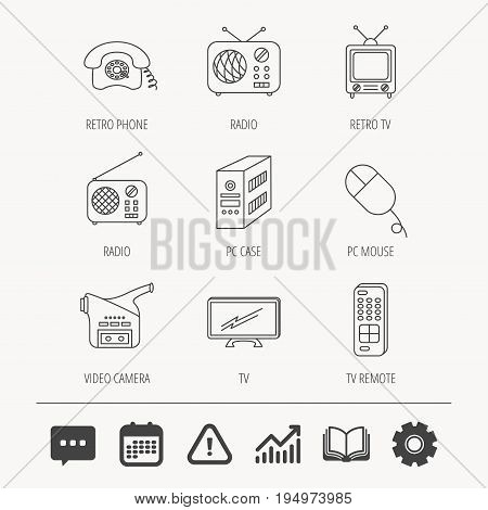 Radio, TV remote and video camera icons. Retro phone, PC case and mouse linear signs. Education book, Graph chart and Chat signs. Attention, Calendar and Cogwheel web icons. Vector