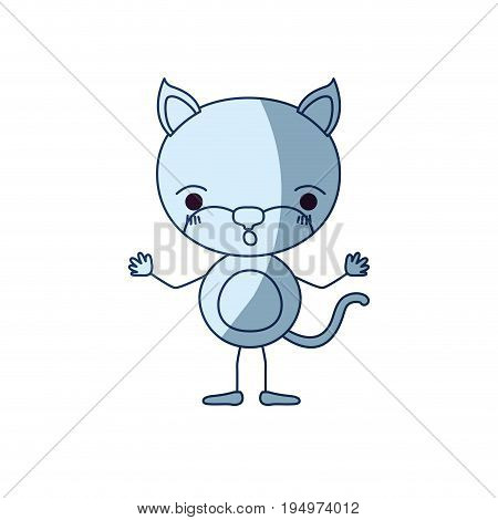 blue color shading silhouette caricature of cute cat astonished expression vector illustration