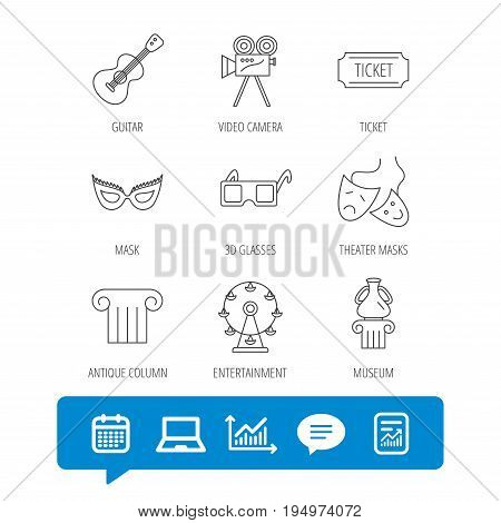 Museum, guitar music and theater masks icons. Ticket, video camera and 3d glasses linear signs. Entertainment, antique column icons. Report file, Graph chart and Chat speech bubble signs. Vector